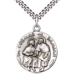 Sterling Silver Sts Cosmas & Damian Pendant
